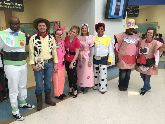 School staff dressed up as characters from Toy Story movie